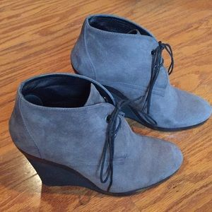 HOGAN Gray Suede Lace Up Booties Italy 37.5